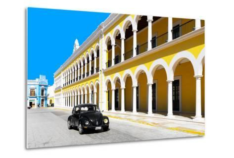 ?Viva Mexico! Collection - Black VW Beetle and Yellow Architecture in Campeche-Philippe Hugonnard-Metal Print