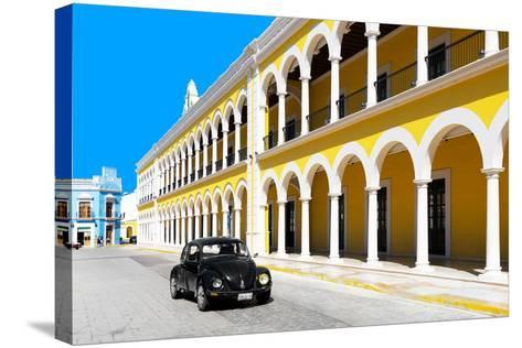 ?Viva Mexico! Collection - Black VW Beetle and Yellow Architecture in Campeche-Philippe Hugonnard-Stretched Canvas Print