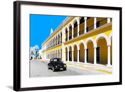 ?Viva Mexico! Collection - Black VW Beetle and Yellow Architecture in Campeche-Philippe Hugonnard-Framed Art Print