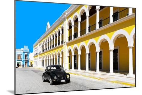 ?Viva Mexico! Collection - Black VW Beetle and Yellow Architecture in Campeche-Philippe Hugonnard-Mounted Photographic Print