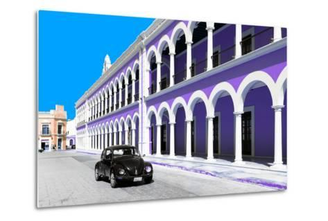 ¡Viva Mexico! Collection - Black VW Beetle and Purple Architecture in Campeche-Philippe Hugonnard-Metal Print