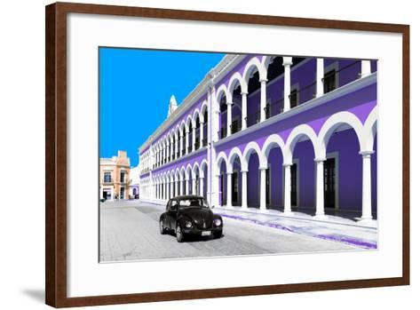 ¡Viva Mexico! Collection - Black VW Beetle and Purple Architecture in Campeche-Philippe Hugonnard-Framed Art Print