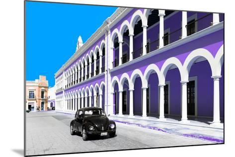 ¡Viva Mexico! Collection - Black VW Beetle and Purple Architecture in Campeche-Philippe Hugonnard-Mounted Photographic Print
