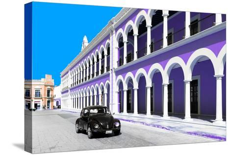 ¡Viva Mexico! Collection - Black VW Beetle and Purple Architecture in Campeche-Philippe Hugonnard-Stretched Canvas Print