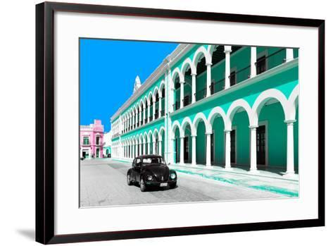 ?Viva Mexico! Collection - Black VW Beetle and Coral Green Architecture in Campeche-Philippe Hugonnard-Framed Art Print