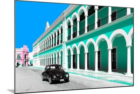 ?Viva Mexico! Collection - Black VW Beetle and Coral Green Architecture in Campeche-Philippe Hugonnard-Mounted Photographic Print