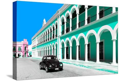 ?Viva Mexico! Collection - Black VW Beetle and Coral Green Architecture in Campeche-Philippe Hugonnard-Stretched Canvas Print