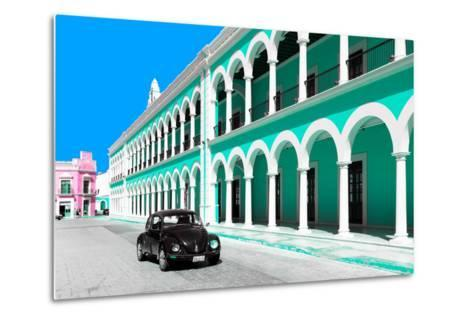 ?Viva Mexico! Collection - Black VW Beetle and Coral Green Architecture in Campeche-Philippe Hugonnard-Metal Print