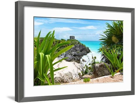 ?Viva Mexico! Collection - Mayan Archaeological Site with Iguana - Tulum-Philippe Hugonnard-Framed Art Print