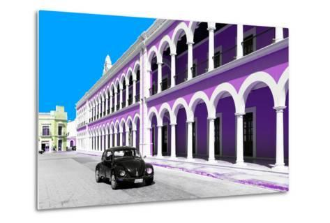 ¡Viva Mexico! Collection - Black VW Beetle and Mauve Architecture in Campeche-Philippe Hugonnard-Metal Print