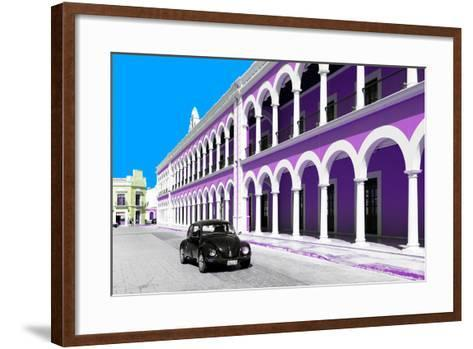 ¡Viva Mexico! Collection - Black VW Beetle and Mauve Architecture in Campeche-Philippe Hugonnard-Framed Art Print