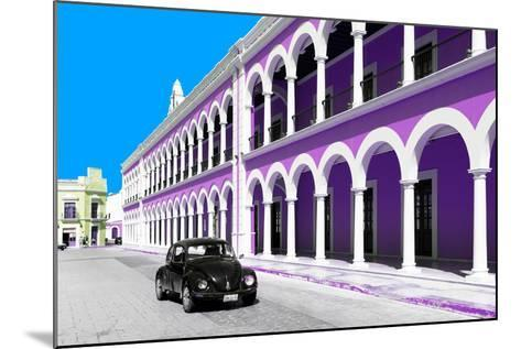¡Viva Mexico! Collection - Black VW Beetle and Mauve Architecture in Campeche-Philippe Hugonnard-Mounted Photographic Print