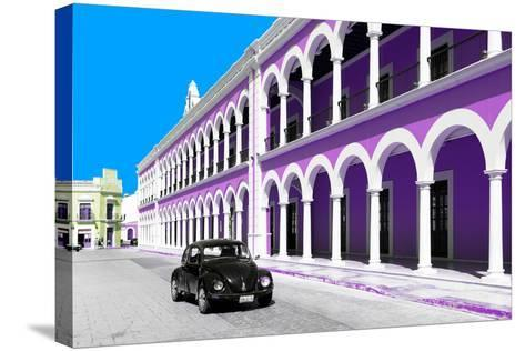 ¡Viva Mexico! Collection - Black VW Beetle and Mauve Architecture in Campeche-Philippe Hugonnard-Stretched Canvas Print