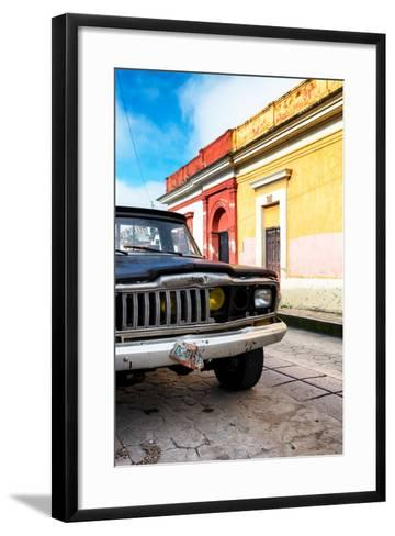 ¡Viva Mexico! Collection - Old Black Jeep and Colorful Street-Philippe Hugonnard-Framed Art Print