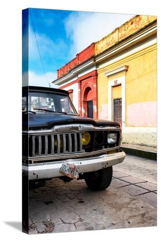 ¡Viva Mexico! Collection - Old Black Jeep and Colorful Street-Philippe Hugonnard-Stretched Canvas Print