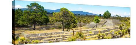 ¡Viva Mexico! Panoramic Collection - Pyramid of Cantona - Puebla I-Philippe Hugonnard-Stretched Canvas Print