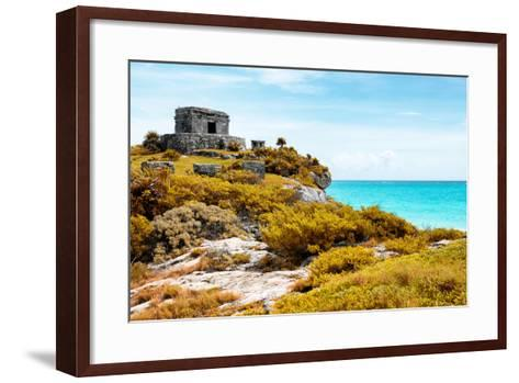 ¡Viva Mexico! Collection - Ancient Mayan Fortress in Riviera Maya with Fall Colors - Tulum-Philippe Hugonnard-Framed Art Print