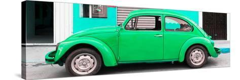 ¡Viva Mexico! Panoramic Collection - Green VW Beetle Car-Philippe Hugonnard-Stretched Canvas Print