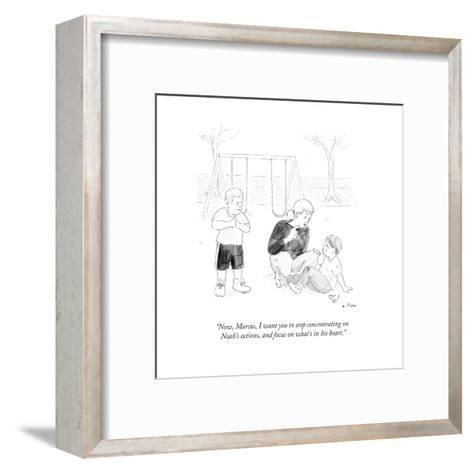 """""""Now, Marcus, I want you to stop concentrating on Noah's actions, and focu?"""" - Cartoon-Emily Flake-Framed Art Print"""