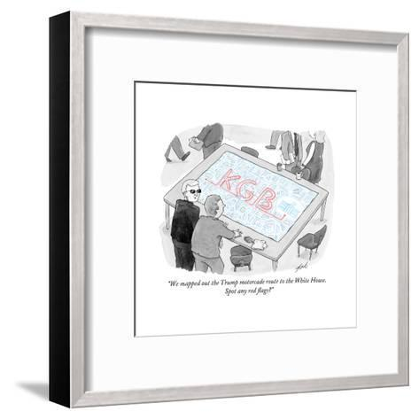 """""""We mapped out the Trump motorcade route to the White House."""" - Cartoon-Tom Toro-Framed Art Print"""