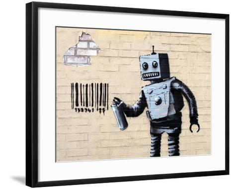 Robot-Banksy-Framed Art Print