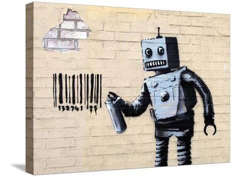 Robot-Banksy-Stretched Canvas Print