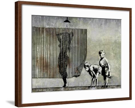 Shower Peepers-Banksy-Framed Art Print