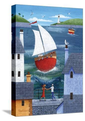 A Seaside Town-Peter Adderley-Stretched Canvas Print