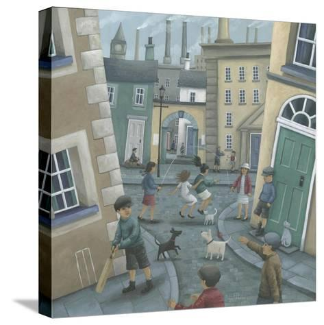 Skipping by the Green Door-Peter Adderley-Stretched Canvas Print