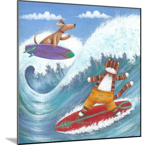 Cat and Dog Surfing-Peter Adderley-Mounted Art Print