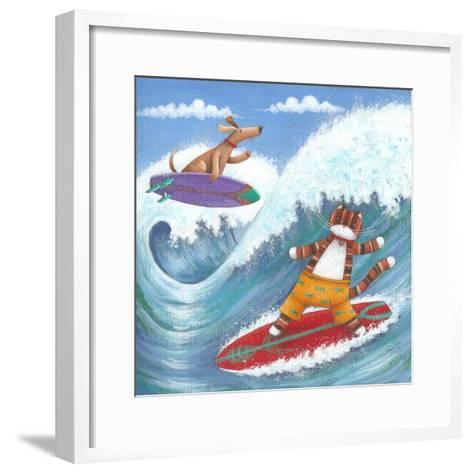 Cat and Dog Surfing-Peter Adderley-Framed Art Print