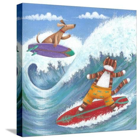 Cat and Dog Surfing-Peter Adderley-Stretched Canvas Print
