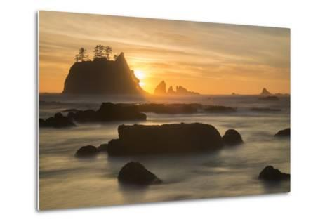 Rock Formations Silhouetted At Sunset On The Pacífic Coast Of Olympic National Park-Inaki Relanzon-Metal Print
