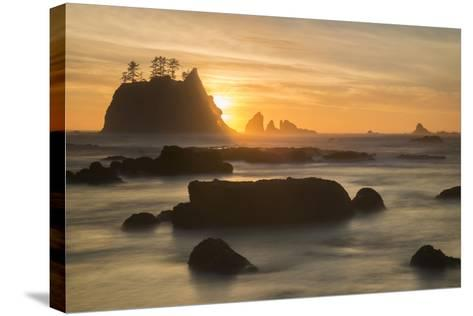 Rock Formations Silhouetted At Sunset On The Pacífic Coast Of Olympic National Park-Inaki Relanzon-Stretched Canvas Print