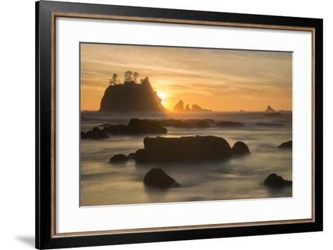 Rock Formations Silhouetted At Sunset On The Pacífic Coast Of Olympic National Park-Inaki Relanzon-Framed Art Print