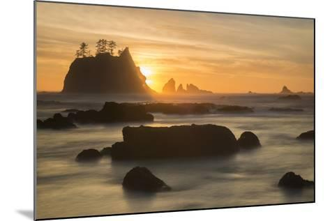 Rock Formations Silhouetted At Sunset On The Pacífic Coast Of Olympic National Park-Inaki Relanzon-Mounted Photographic Print