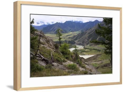 Altai Steppe Mountains At The Confluence Of Rivers Katun And Chuya, South Siberia, Russia-Konstantin Mikhailov-Framed Art Print