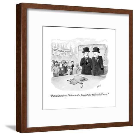 """Punxsutawney Phil can also predict the political climate."" - Cartoon-Tom Toro-Framed Art Print"