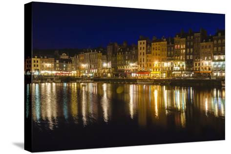Honfleur Harbor at Night, Normandy, France-Russ Bishop-Stretched Canvas Print
