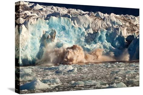 Arctic, Svalbard. 20M High Turquoise Glacier Calving into the Sea-David Slater-Stretched Canvas Print