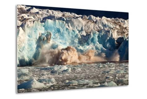 Arctic, Svalbard. 20M High Turquoise Glacier Calving into the Sea-David Slater-Metal Print