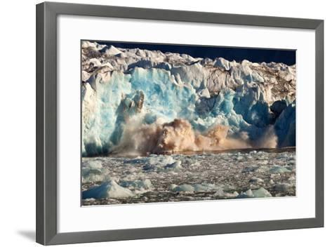 Arctic, Svalbard. 20M High Turquoise Glacier Calving into the Sea-David Slater-Framed Art Print