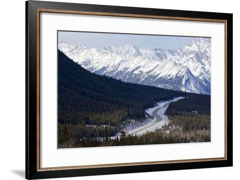 Canada, Alberta, Kootenay Plains. Road Through Mountain Landscape-Jaynes Gallery-Framed Art Print