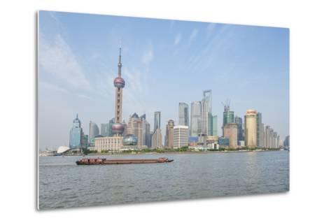 Pudong District Skyline with Shipping on the Huangpu River, Shanghai, China-Michael DeFreitas-Metal Print