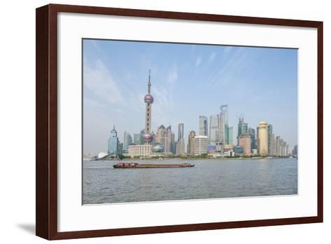 Pudong District Skyline with Shipping on the Huangpu River, Shanghai, China-Michael DeFreitas-Framed Art Print
