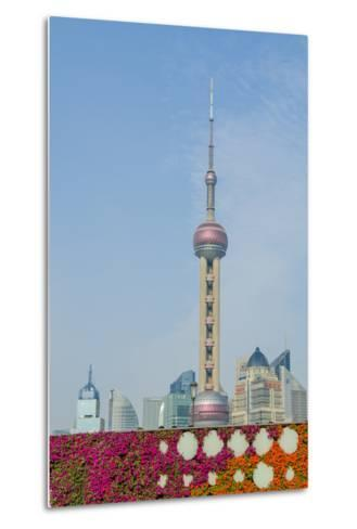 The Bund Gardens with Pearl Tower over Pudong District Skyline Shanghai, China-Michael DeFreitas-Metal Print