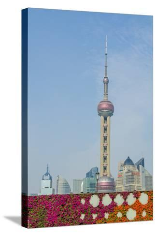 The Bund Gardens with Pearl Tower over Pudong District Skyline Shanghai, China-Michael DeFreitas-Stretched Canvas Print