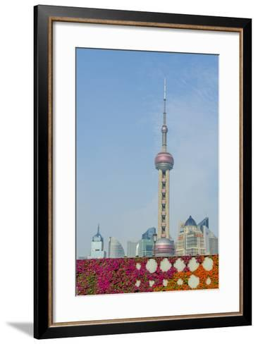 The Bund Gardens with Pearl Tower over Pudong District Skyline Shanghai, China-Michael DeFreitas-Framed Art Print