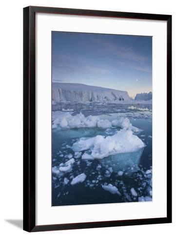 Greenland, Disko Bay, Ilulissat, Floating Ice at Sunset with Moonrise-Walter Bibikow-Framed Art Print