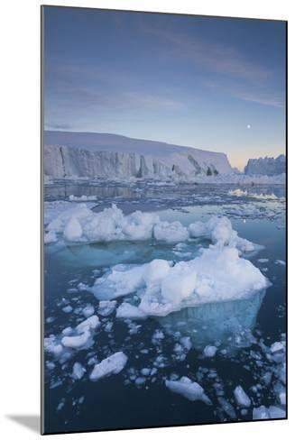 Greenland, Disko Bay, Ilulissat, Floating Ice at Sunset with Moonrise-Walter Bibikow-Mounted Photographic Print